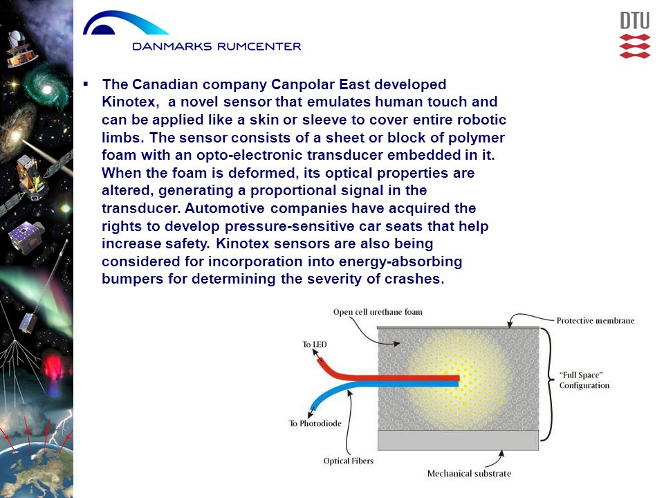  The Canadian company Canpolar East developed Kinotex, a novel sensor that emulates human touch and can be applied like a skin or sleeve to cover entire robotic limbs.