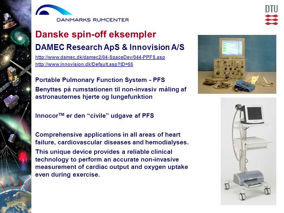 Portable Pulmonary Function System - PFS Benyttes på rumstationen til non-invasiv måling af astronauternes hjerte og lungefunktion Innocor TM er den civile udgave af PFS Comprehensive applications in all areas of heart failure, cardiovascular diseases and hemodialyses.