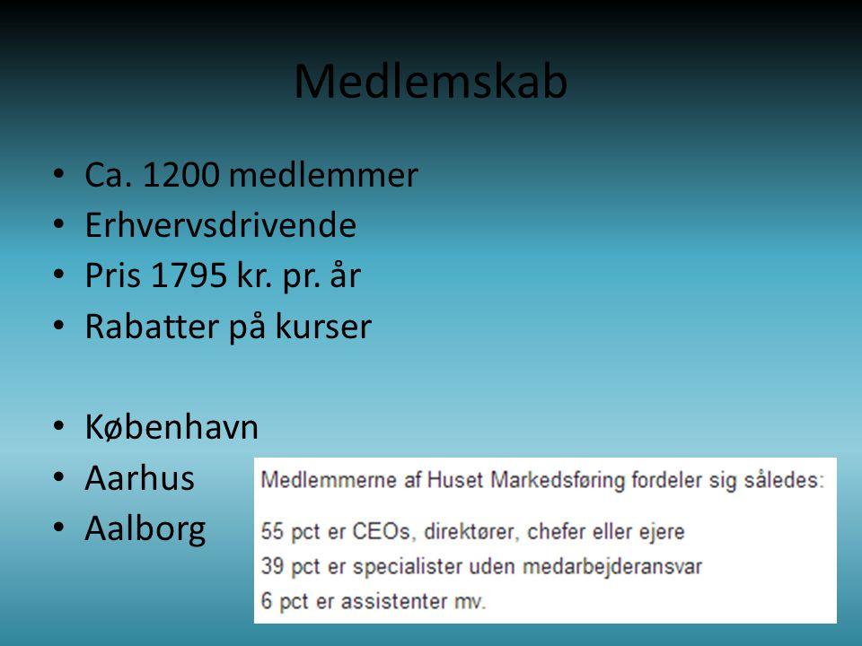 Medlemskab • Ca. 1200 medlemmer • Erhvervsdrivende • Pris 1795 kr.