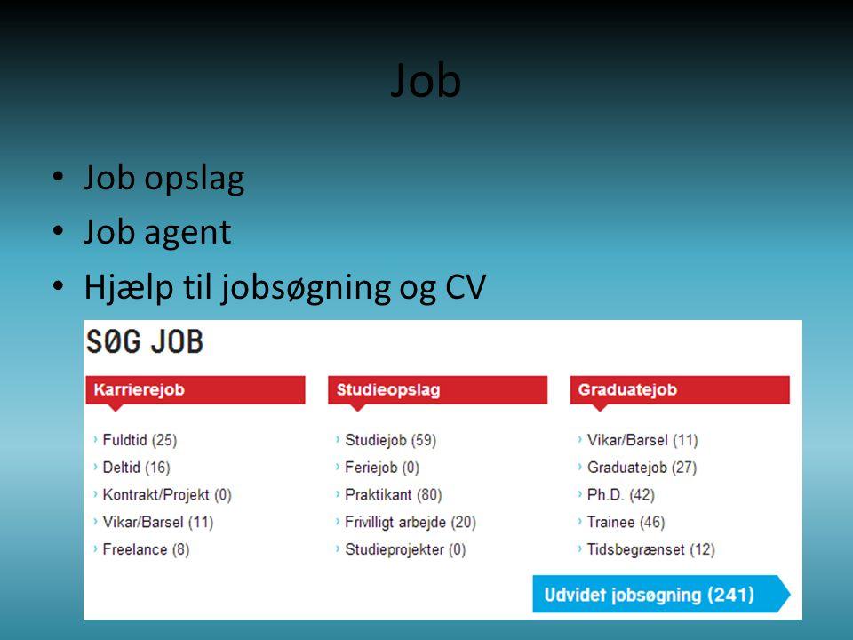 Job • Job opslag • Job agent • Hjælp til jobsøgning og CV