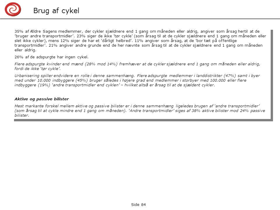 Side 84 Brug af cykel 35% af Ældre Sagens medlemmer, der cykler sjældnere end 1 gang om måneden eller aldrig, angiver som årsag hertil at de 'bruger andre transportmidler'.