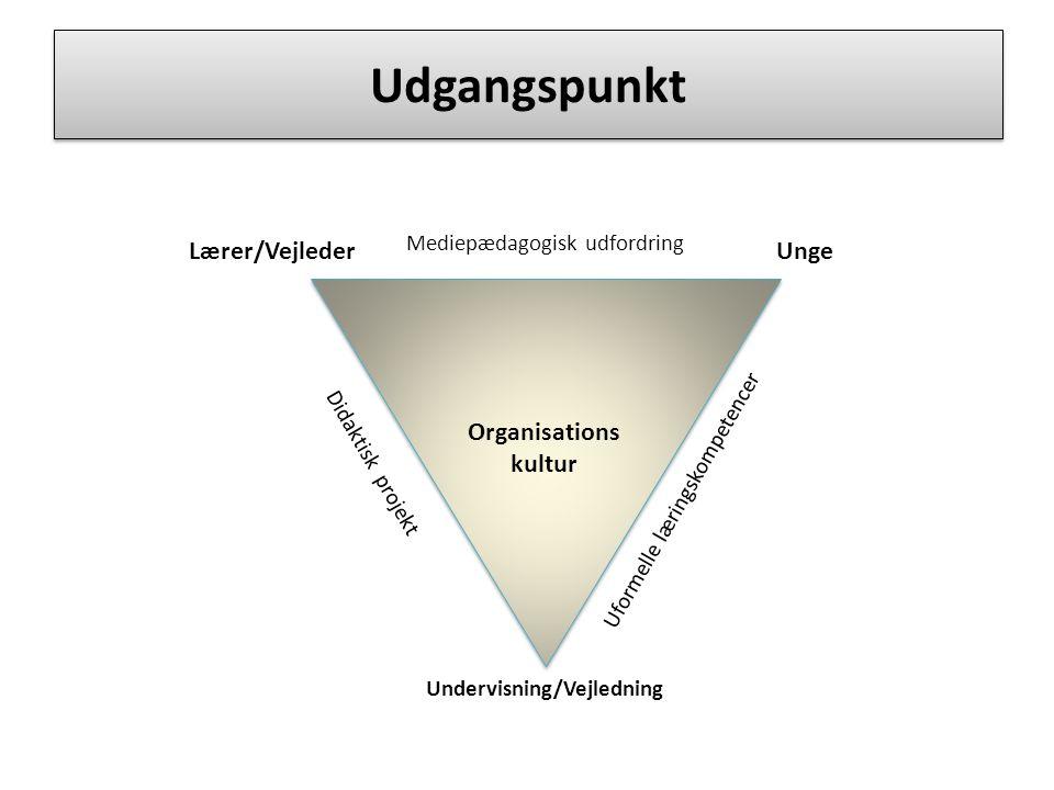 Udgangspunkt Lærer/VejlederUnge Mediepædagogisk udfordring Undervisning/Vejledning Organisations kultur Didaktisk projekt Uformelle læringskompetencer