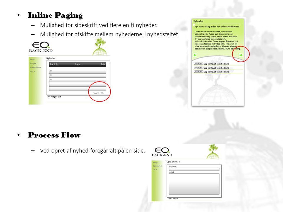 • Inline Paging – Mulighed for sideskrift ved flere en ti nyheder.