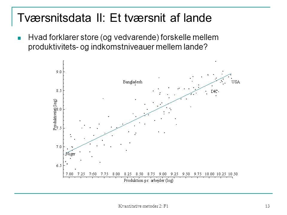 Kvantitative metoder 2: F1 13 Tværsnitsdata II: Et tværsnit af lande  Hvad forklarer store (og vedvarende) forskelle mellem produktivitets- og indkomstniveauer mellem lande