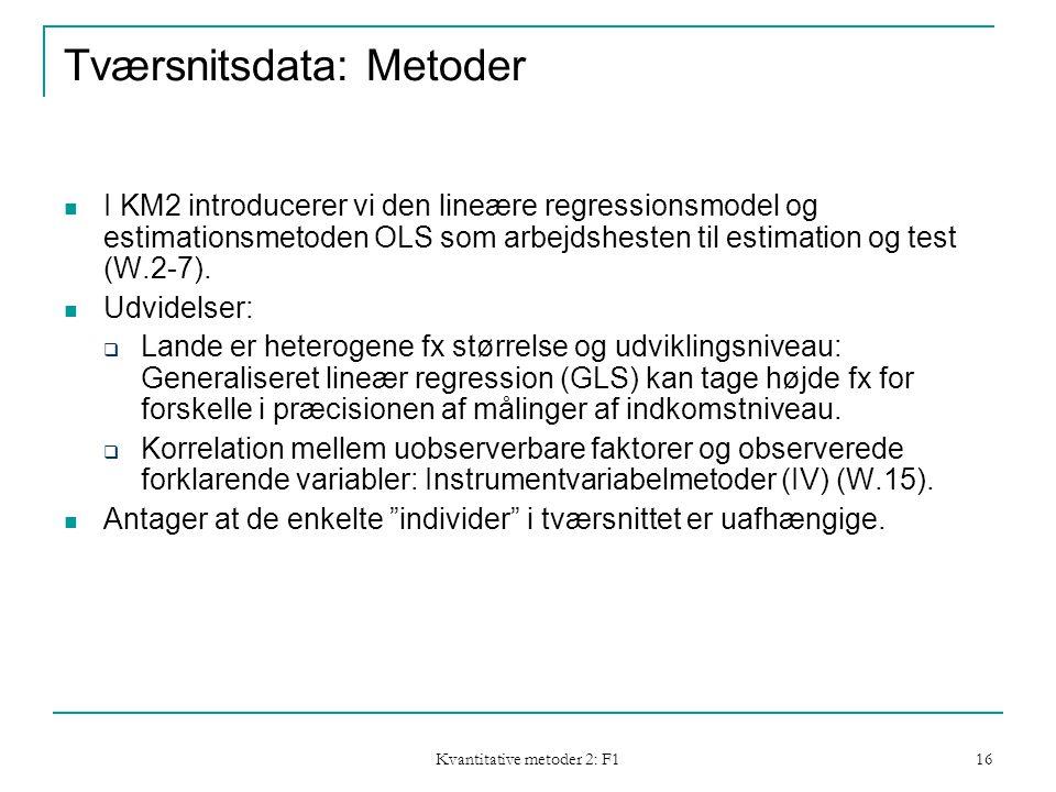 Kvantitative metoder 2: F1 16 Tværsnitsdata: Metoder  I KM2 introducerer vi den lineære regressionsmodel og estimationsmetoden OLS som arbejdshesten til estimation og test (W.2-7).