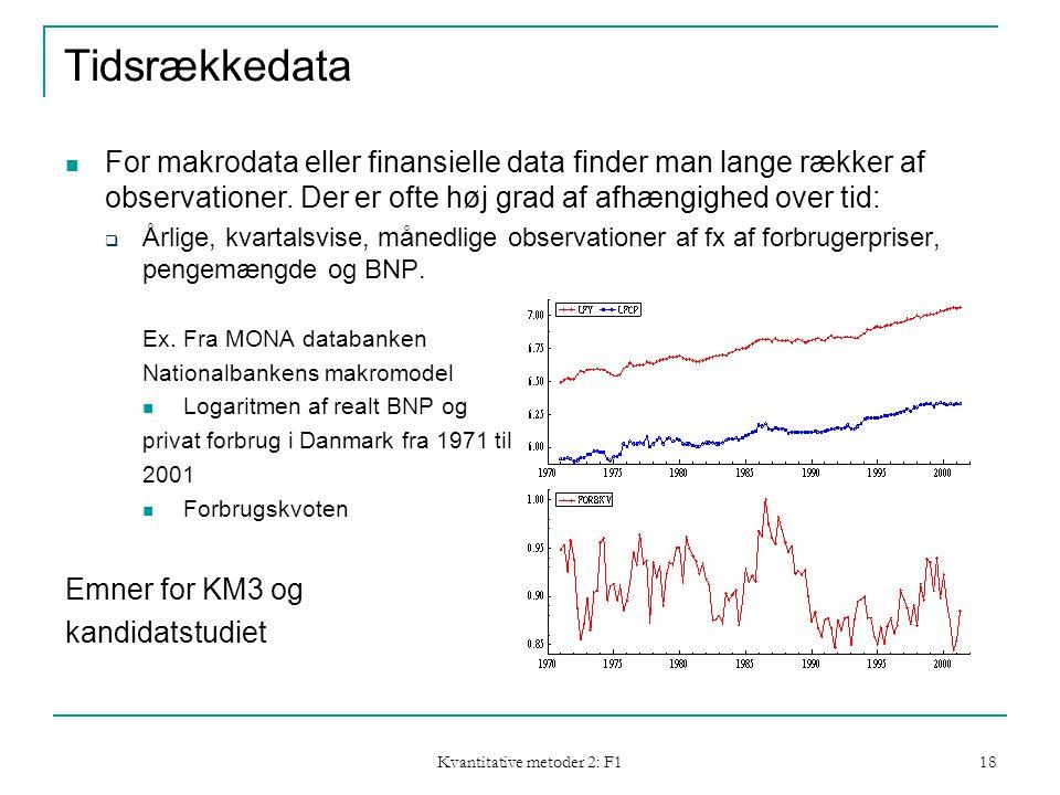 Kvantitative metoder 2: F1 18 Tidsrækkedata  For makrodata eller finansielle data finder man lange rækker af observationer.