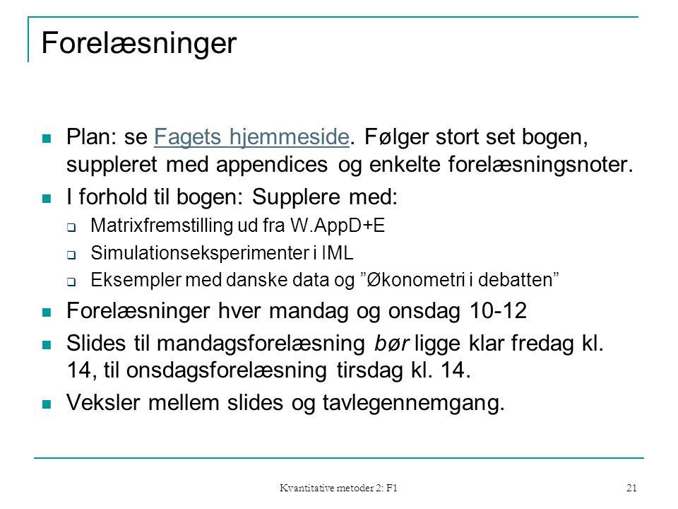 Kvantitative metoder 2: F1 21 Forelæsninger  Plan: se Fagets hjemmeside.