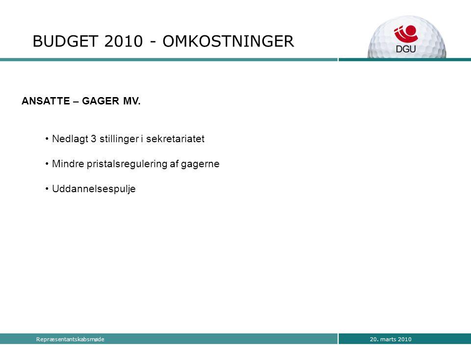 20. marts 2010Repræsentantskabsmøde BUDGET 2010 - OMKOSTNINGER ANSATTE – GAGER MV.