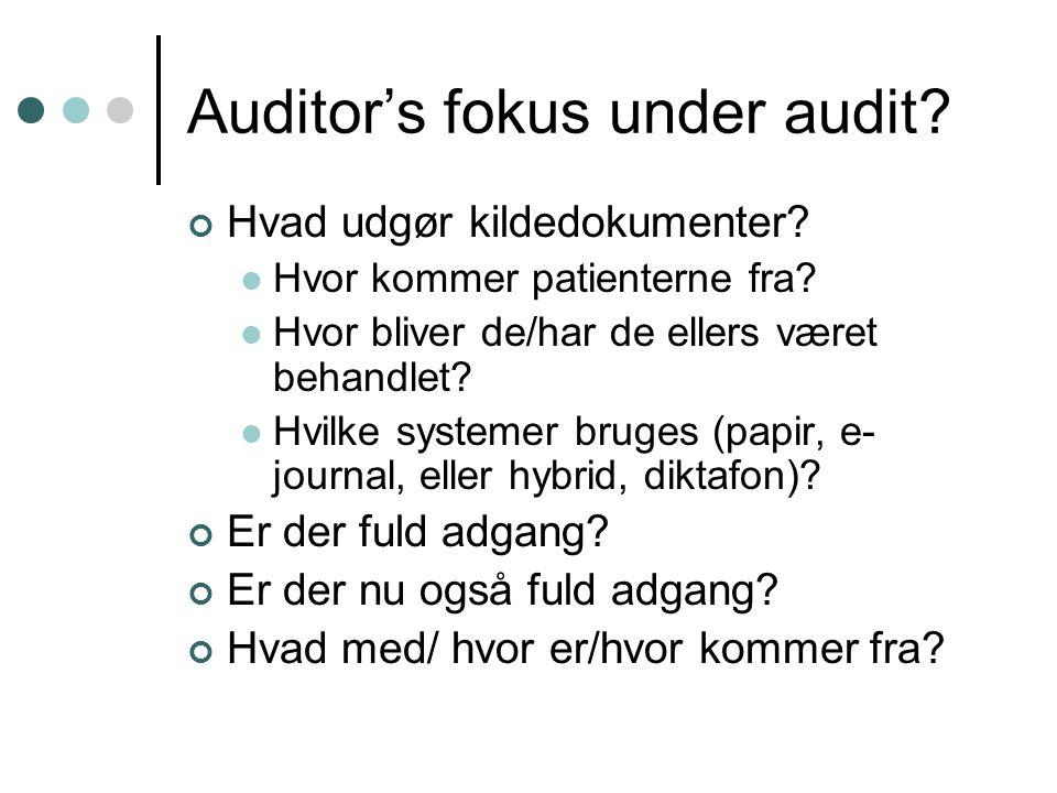 Auditor's fokus under audit. Hvad udgør kildedokumenter.