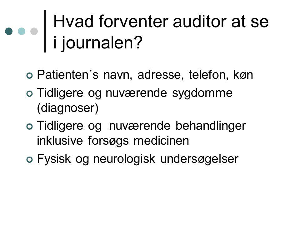 Hvad forventer auditor at se i journalen.
