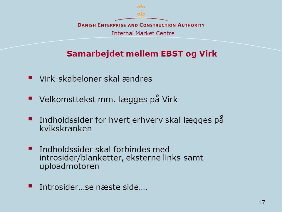 17 Samarbejdet mellem EBST og Virk  Virk-skabeloner skal ændres  Velkomsttekst mm.