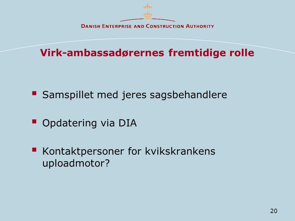 20 Virk-ambassadørernes fremtidige rolle  Samspillet med jeres sagsbehandlere  Opdatering via DIA  Kontaktpersoner for kvikskrankens uploadmotor