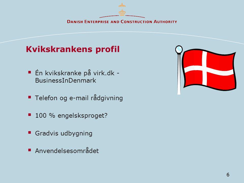 6 Kvikskrankens profil  Én kvikskranke på virk.dk - BusinessInDenmark  Telefon og e-mail rådgivning  100 % engelsksproget.