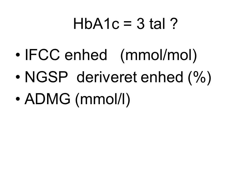 HbA1c = 3 tal •IFCC enhed (mmol/mol) •NGSP deriveret enhed (%) •ADMG (mmol/l)