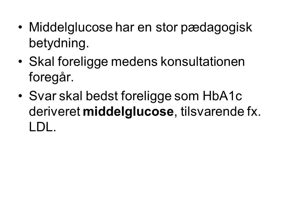 •Middelglucose har en stor pædagogisk betydning. •Skal foreligge medens konsultationen foregår.
