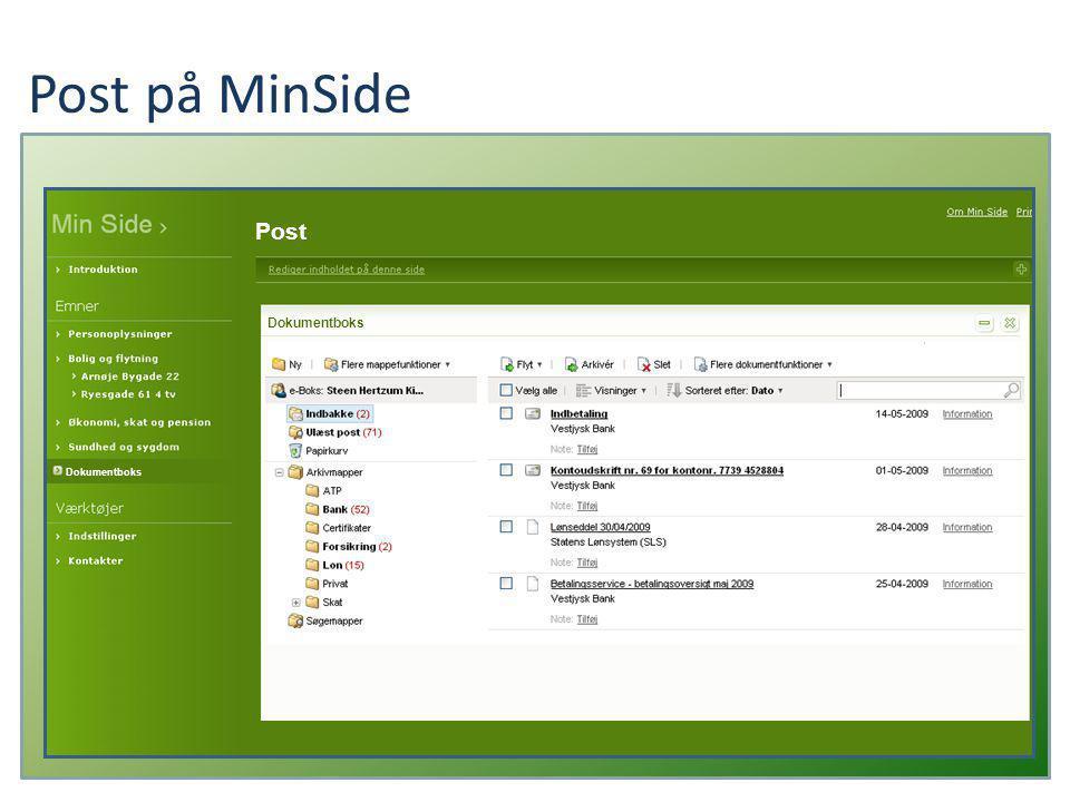 Post på MinSide Dokumentboks Post Dokumentboks Du er ikke tilmeldt dokumentboksen.