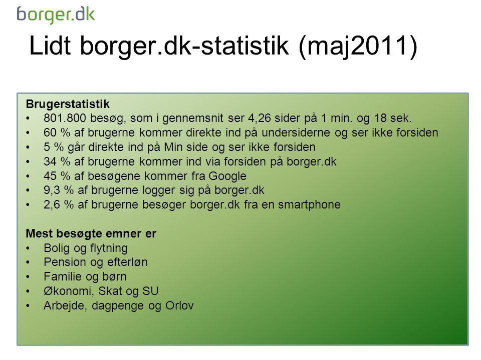 Lidt borger.dk-statistik (maj2011) Brugerstatistik •801.800 besøg, som i gennemsnit ser 4,26 sider på 1 min.