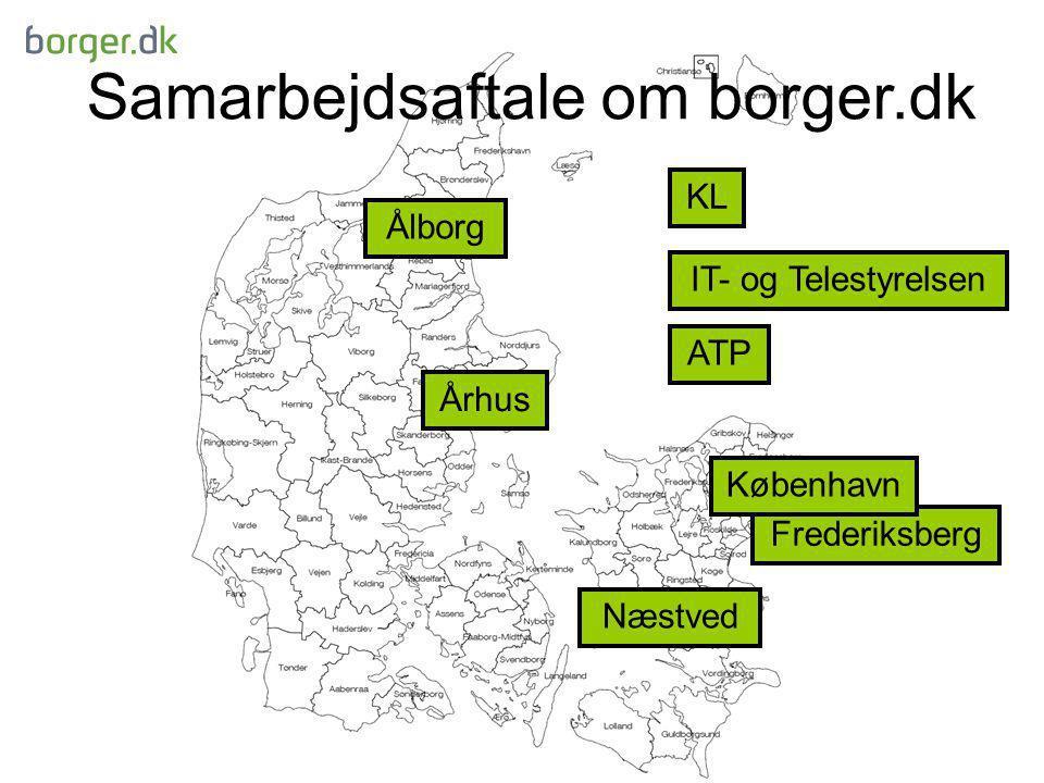 Samarbejdsaftale om borger.dk Ålborg Århus Frederiksberg Næstved IT- og Telestyrelsen KL København ATP