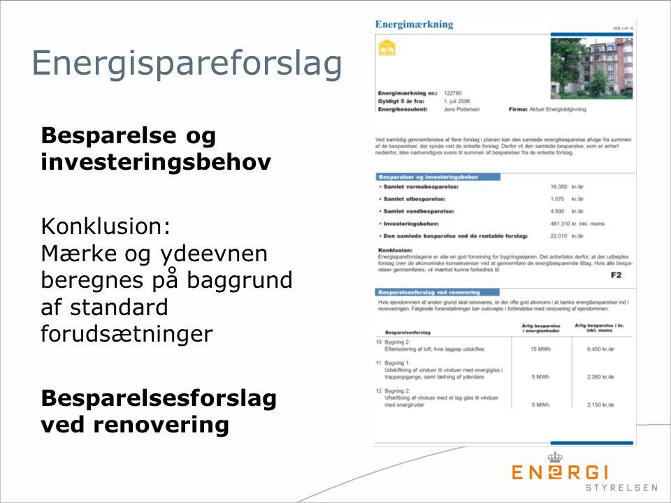 Besparelse og investeringsbehov Konklusion: Mærke og ydeevnen beregnes på baggrund af standard forudsætninger Besparelsesforslag ved renovering Energi