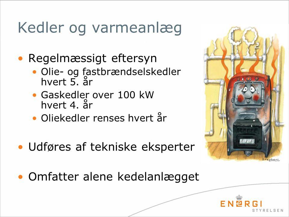 Kedler og varmeanlæg •Regelmæssigt eftersyn •Olie- og fastbrændselskedler hvert 5. år •Gaskedler over 100 kW hvert 4. år •Oliekedler renses hvert år •