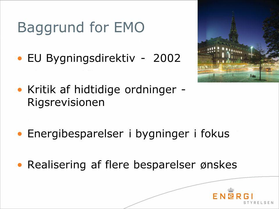Lovgivning om EMO •Lov om fremme af energibesparelser i bygninger (Lov 585, 24/6 2005) •Bekendtgørelse om energimærkning af bygninger (Bek.