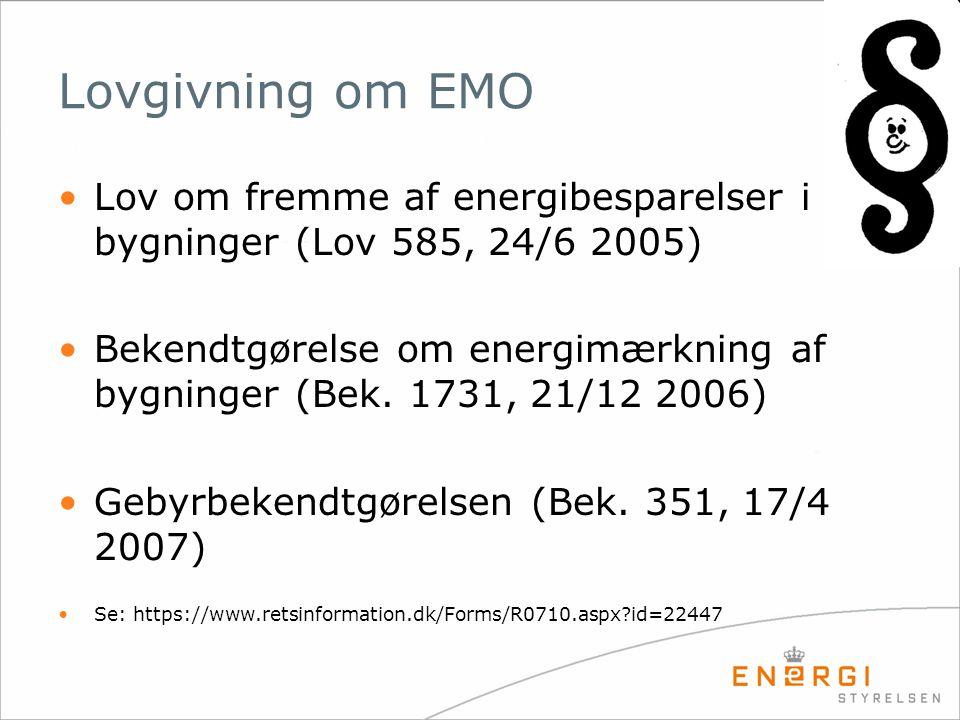 Lovgivning om EMO •Lov om fremme af energibesparelser i bygninger (Lov 585, 24/6 2005) •Bekendtgørelse om energimærkning af bygninger (Bek. 1731, 21/1