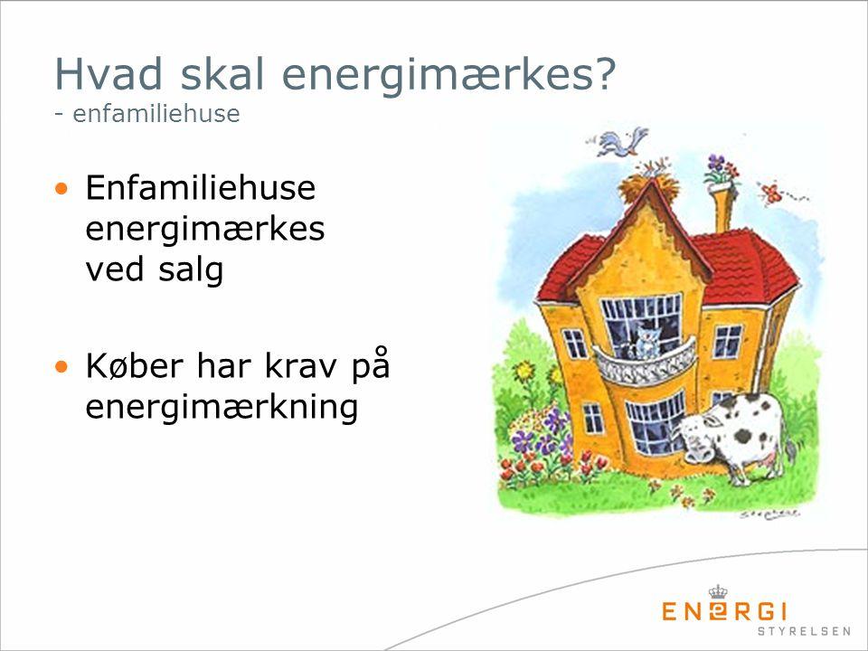Hvad skal energimærkes? - enfamiliehuse •Enfamiliehuse energimærkes ved salg •Køber har krav på energimærkning
