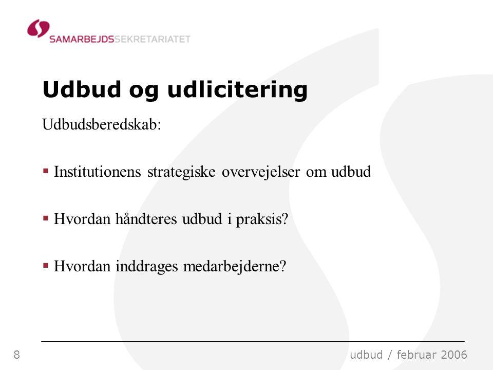 8udbud / februar 2006 Udbud og udlicitering Udbudsberedskab:  Institutionens strategiske overvejelser om udbud  Hvordan håndteres udbud i praksis.