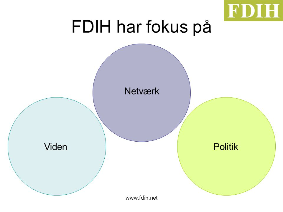www.fdih.net FDIH har fokus på Netværk VidenPolitik