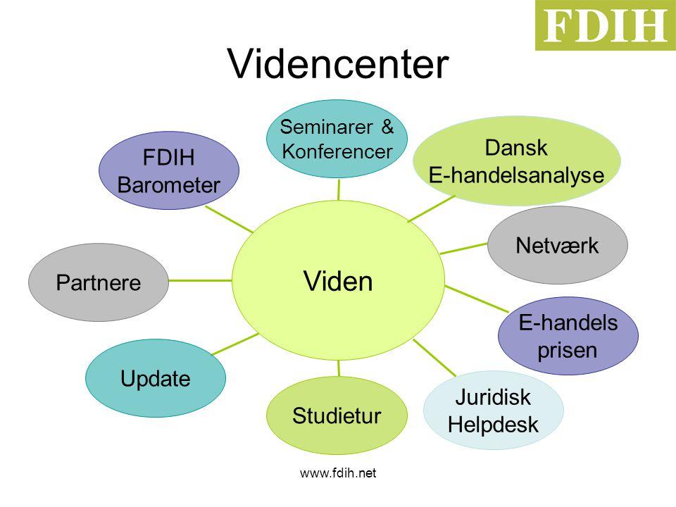 www.fdih.net Videncenter Viden Seminarer & Konferencer Netværk E-handels prisen Juridisk Helpdesk Studietur Update Partnere FDIH Barometer Dansk E-handelsanalyse