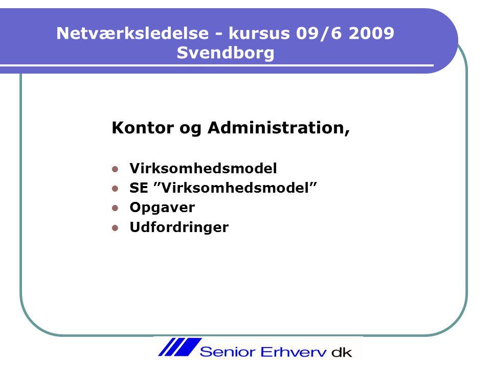 Netværksledelse - kursus 09/6 2009 Svendborg Kontor og Administration,  Virksomhedsmodel  SE Virksomhedsmodel  Opgaver  Udfordringer