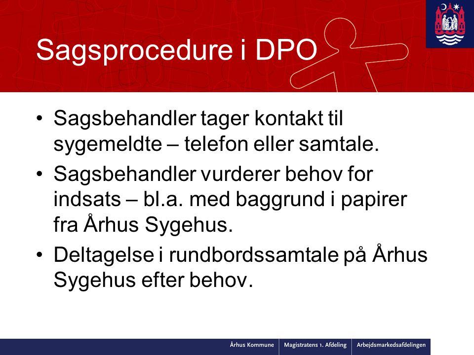 Sagsprocedure i DPO •Sagsbehandler tager kontakt til sygemeldte – telefon eller samtale.