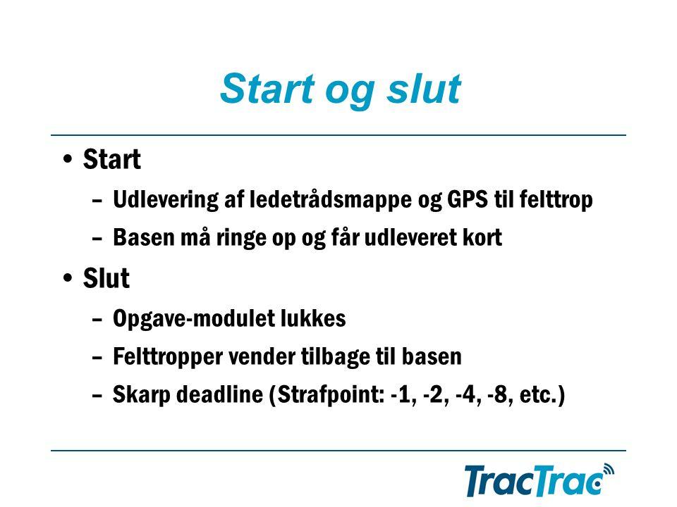 Start og slut •Start –Udlevering af ledetrådsmappe og GPS til felttrop –Basen må ringe op og får udleveret kort •Slut –Opgave-modulet lukkes –Felttropper vender tilbage til basen –Skarp deadline (Strafpoint: -1, -2, -4, -8, etc.)