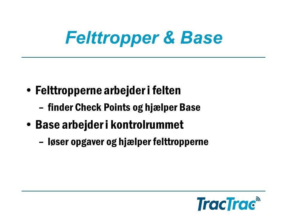 Felttropper & Base •Felttropperne arbejder i felten –finder Check Points og hjælper Base •Base arbejder i kontrolrummet –løser opgaver og hjælper felttropperne