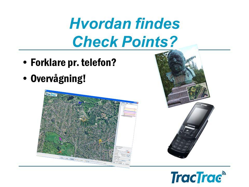 Hvordan findes Check Points •Forklare pr. telefon •Overvågning!