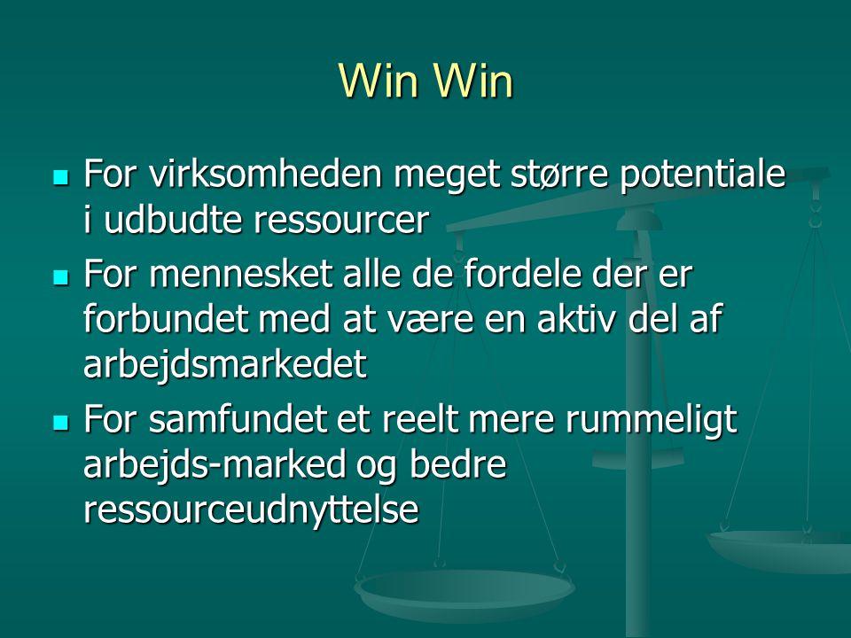 Win Win  For virksomheden meget større potentiale i udbudte ressourcer  For mennesket alle de fordele der er forbundet med at være en aktiv del af arbejdsmarkedet  For samfundet et reelt mere rummeligt arbejds-marked og bedre ressourceudnyttelse
