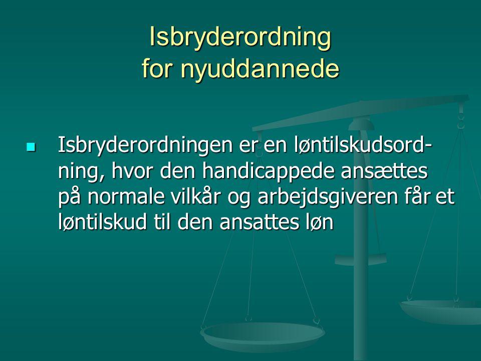 Isbryderordning for nyuddannede  Isbryderordningen er en løntilskudsord- ning, hvor den handicappede ansættes på normale vilkår og arbejdsgiveren får et løntilskud til den ansattes løn