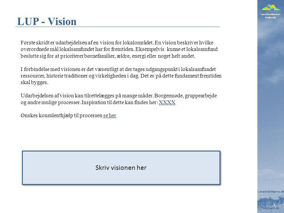 Landdistrikternes Fællesråd Landdistrikterne.dk InfoLand.dk LUP - Vision Første skridt er udarbejdelsen af en vision for lokalområdet.