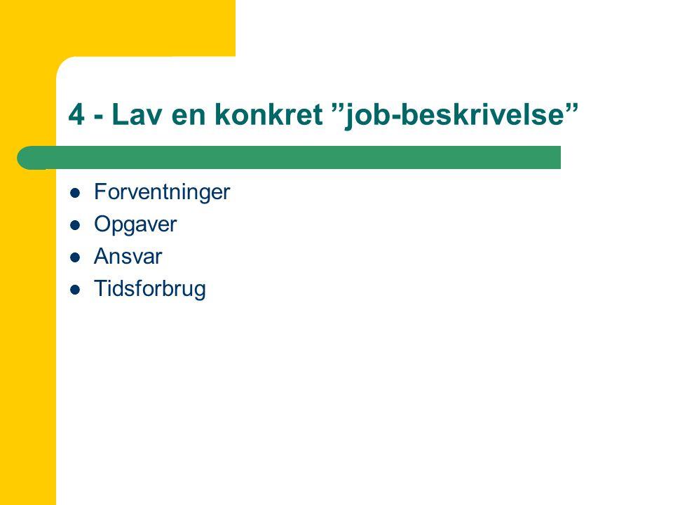 4 - Lav en konkret job-beskrivelse  Forventninger  Opgaver  Ansvar  Tidsforbrug