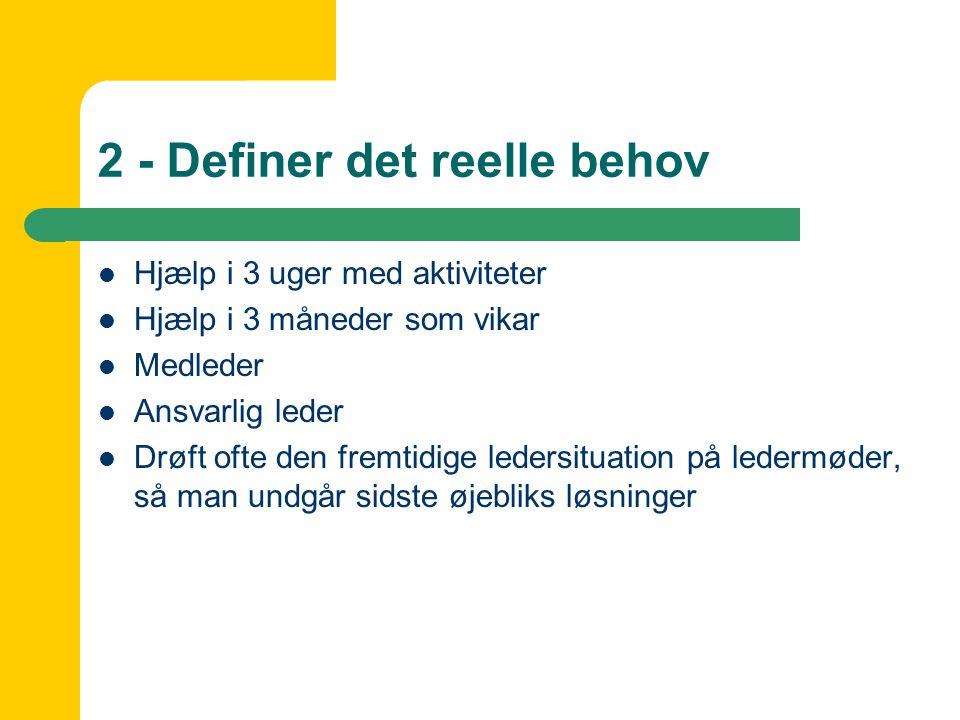 2 - Definer det reelle behov  Hjælp i 3 uger med aktiviteter  Hjælp i 3 måneder som vikar  Medleder  Ansvarlig leder  Drøft ofte den fremtidige ledersituation på ledermøder, så man undgår sidste øjebliks løsninger