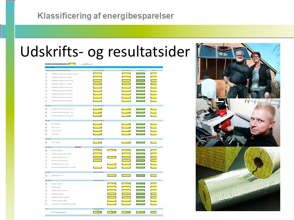Klassificering af energibesparelser Udskrifts- og resultatsider