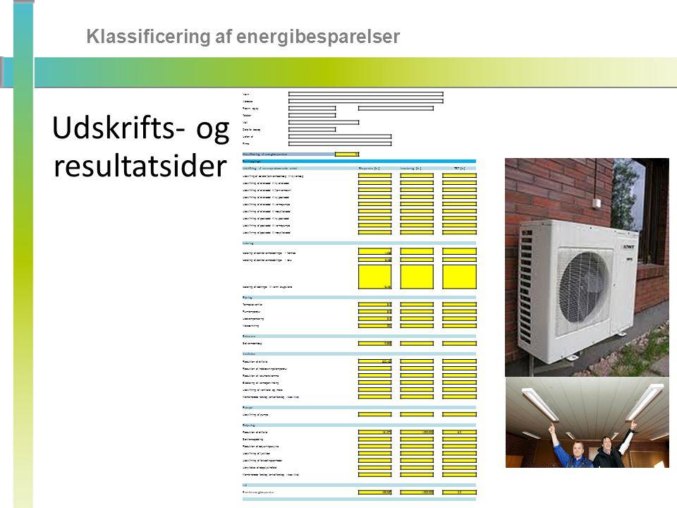Klassificering af energibesparelser Udskrifts- og resultatsider Navn Adresse Postnr.
