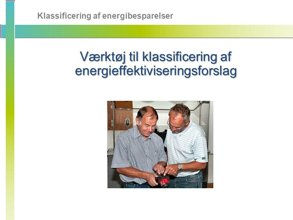 Klassificering af energibesparelser Værktøj til klassificering af energieffektiviseringsforslag