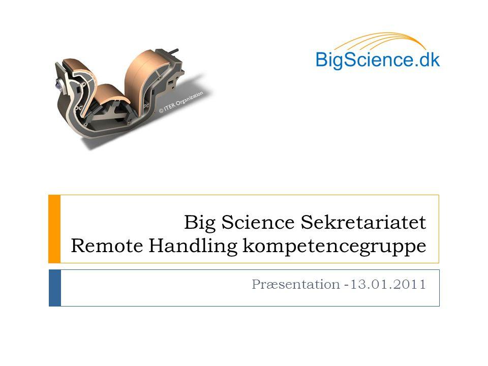 Big Science Sekretariatet Remote Handling kompetencegruppe Præsentation -13.01.2011 © ITER Organization