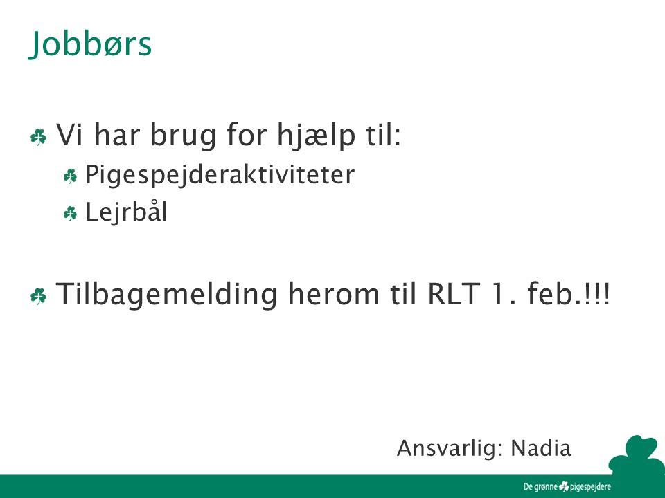 Jobbørs Vi har brug for hjælp til: Pigespejderaktiviteter Lejrbål Tilbagemelding herom til RLT 1.