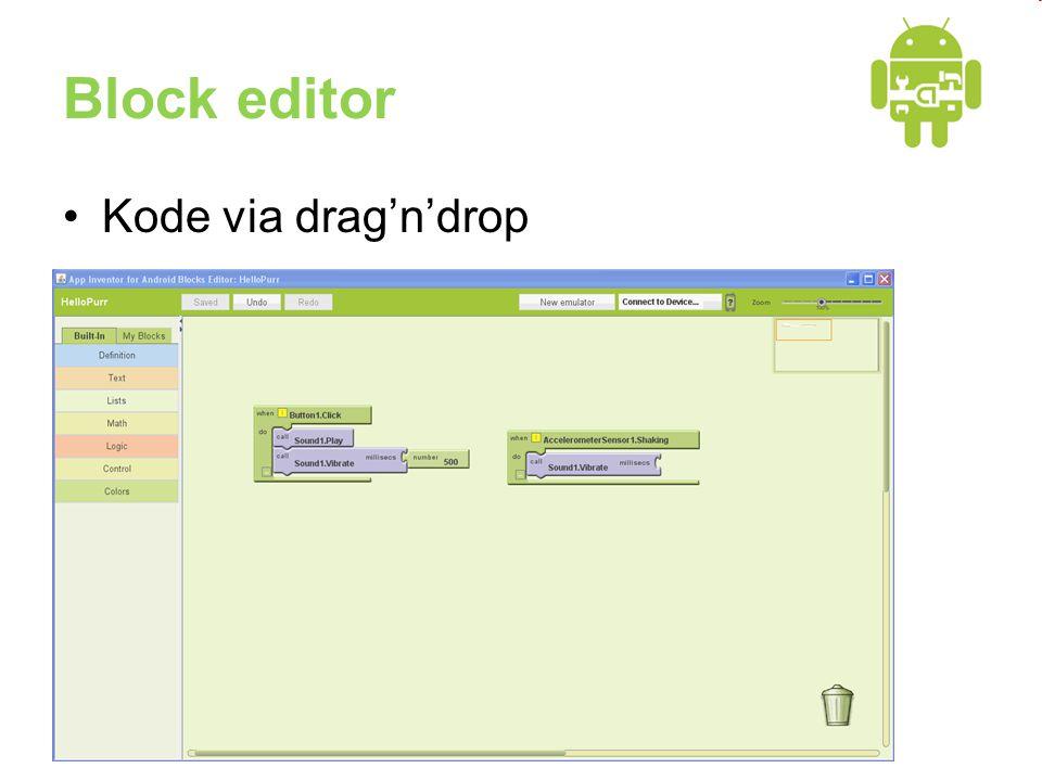 Block editor •Kode via drag'n'drop
