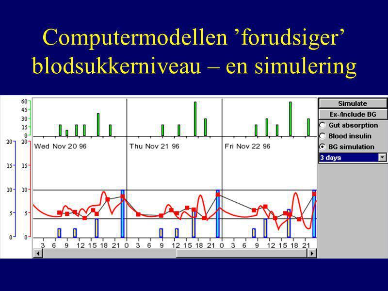 Computermodellen 'forudsiger' blodsukkerniveau – en simulering