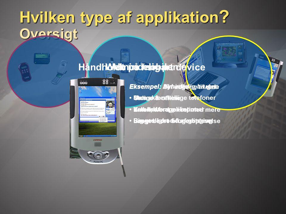 Hvilken type af applikation .