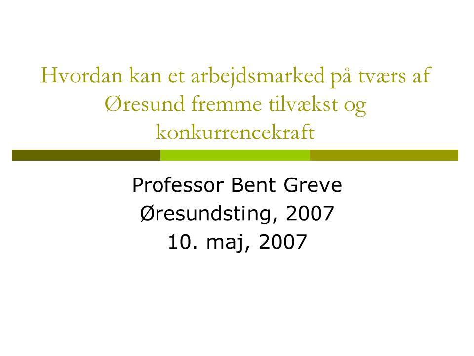 Hvordan kan et arbejdsmarked på tværs af Øresund fremme tilvækst og konkurrencekraft Professor Bent Greve Øresundsting, 2007 10.