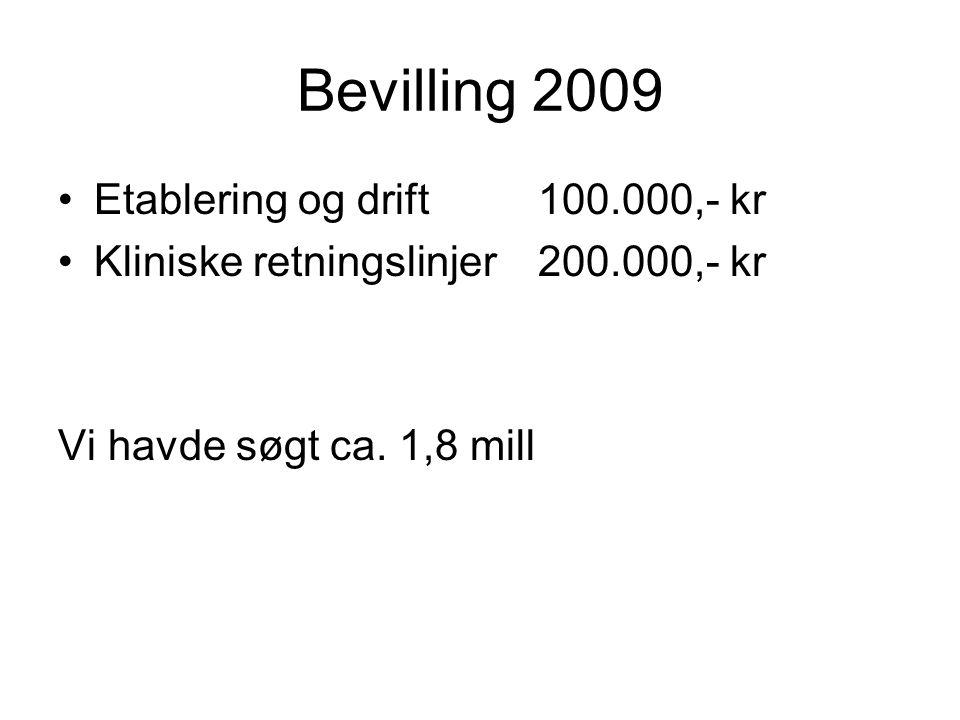 Bevilling 2009 •Etablering og drift100.000,- kr •Kliniske retningslinjer200.000,- kr Vi havde søgt ca.